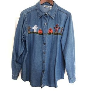 Halloween Embroidered Denim Blouse Size Large